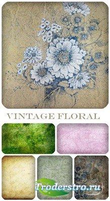 Набор цветочных винтажных фонов