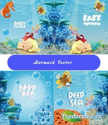 Морской клипарт с коньками и русалкой (Вектор)