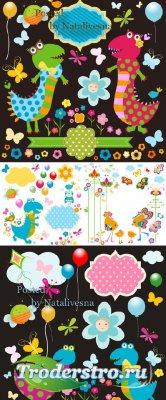 Детские абстрактные фоны в Векторе / Vector - Children's abstract backgrou ...