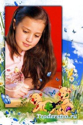 Детская фоторамочка - Веселые поросята