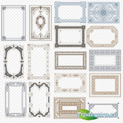 Клипарт PSD - красивые рамки вырезы на прозрачном фоне для творческих работ