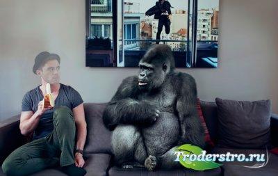 Шаблон для фотошопа  - Парень и горилла