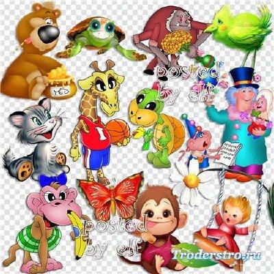 Рисованные зверюшки и мультяшки в PNG