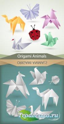 Оригами с животными (Вектор)