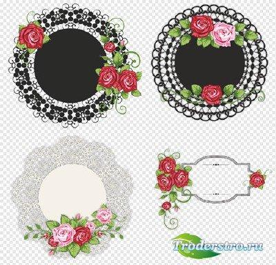 Клипарт - Круглые кружева с розами на прозрачном фоне
