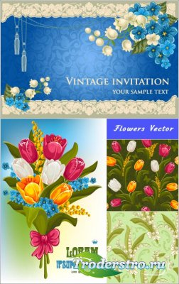 Patterns of tulip and lily of the valley bouquet (vector)