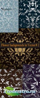 Цветочные фоны в Векторе # 2  / Flower backgrounds in Vector # 2