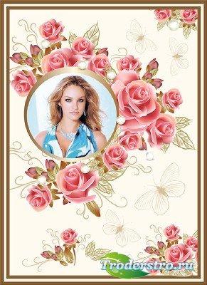 Фотошоп рамка с красивыми розами с жемчугом и бабочками