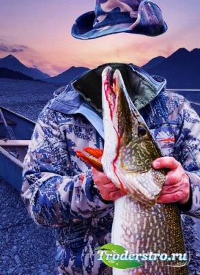 Шаблон дла мужчин-огромная щука удачливого рыбака