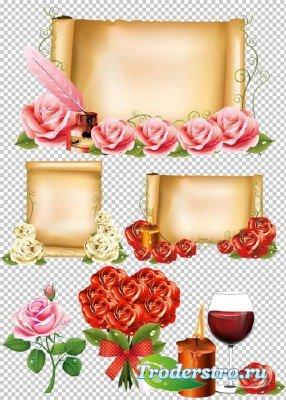 Клипарт - Холсты с для текста украшенные розами PSD прозрачный фон