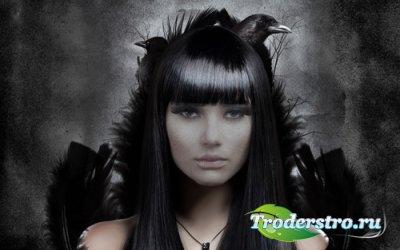 Таинственная девушка с воронами - шаблон для фотомонтажа