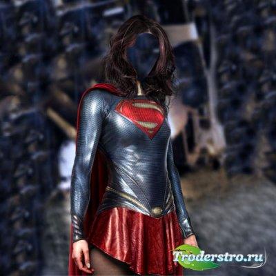 Шаблон для фотомонтажа - Супер девушка в костюме