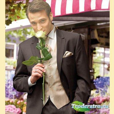 Шаблон для парней - Молодой человек с розочкой в руке