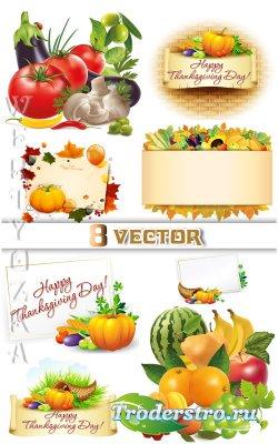Осенние композиции из овощей / Autumn composition of vegetables - vector