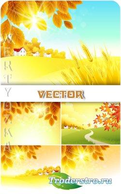 Осенние природные фоны, пейзаж / Autumn natural background, landscape - vec ...