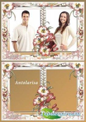 Цветочная рамка  для фотошоп на 2 фотографии