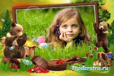 Детская фоторамка - Мишки сладкоежки