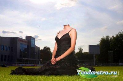 Шаблон женский - Девушка на лужайке в шикарном платье