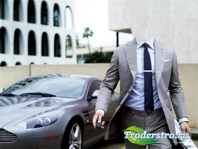 Шаблон для фотошопа - Бизнесмен в костюме на хорошей машине