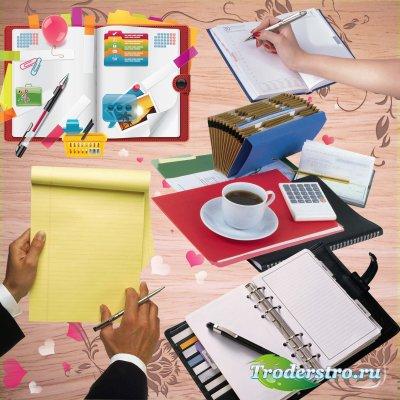 Ежедневники, тетради, блокноты - растровый клипарт на прозрачном фоне