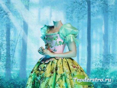 Шаблон для фото - Белоснежка в ярком платье в лесу