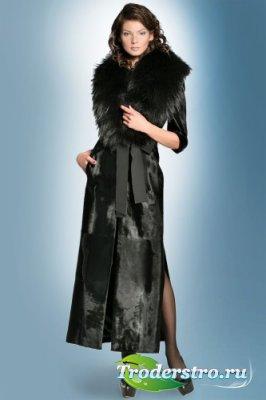 Фотошаблон для девушек-девушка в черном плаще