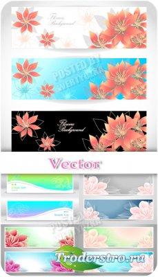 Баннеры с нежными цветами / Banners with delicate flowers - vector clipart
