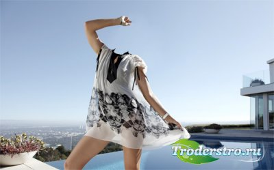 Шаблон psd женский - Фотосессия у бассейна на крыше