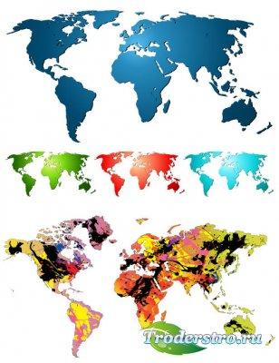 Цветная карта мира (Вектор)