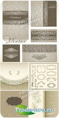 Свадебные фоны, винтажные рамки орнаменты / Wedding backgrounds, vintage fr ...