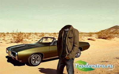 Шаблон для мужчин - Среди песков на мощном авто