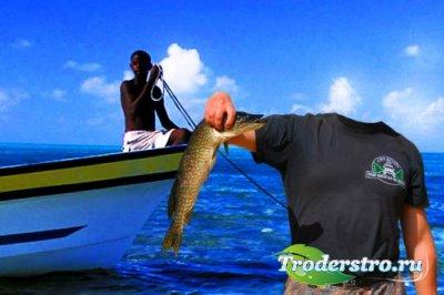 Фотошаблон для мужчин-отдых на карибах