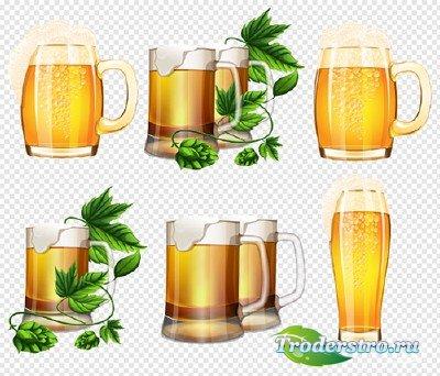 Клипарт - Кружки с пивом и с веточками хмеля на прозрачном фоне PSD