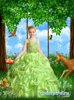 Девочка в нарядном зеленом платье, сказочный лес - детский шаблон для фото