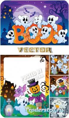 Забавные привидения на хэллоуин /  Funny ghosts on Halloween - stock vector
