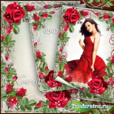 Цветочная романтическая рамка для фотошопа - Среди душистых красных роз
