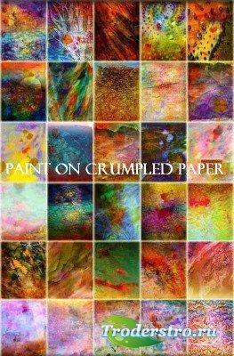 Краски на мятой бумаге (коллекция текстур)
