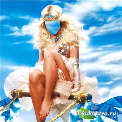 Шаблон женский - Очаровательная принцесса в короне на облаках
