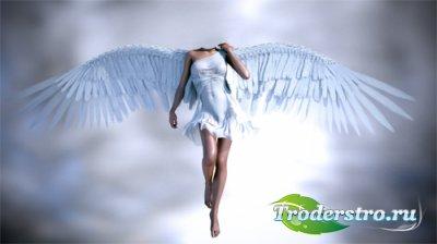 Шаблон для девушек - Ангел с широкими крыльями в полете