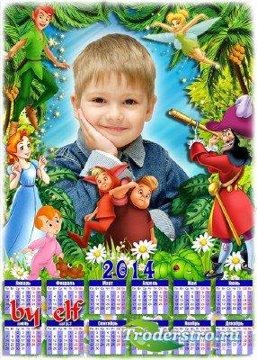 Яркий детский календарь с героями любимого мультфильма - Питер Пэн