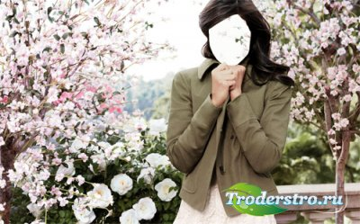 Шаблон для фотошопа - Девушка в красивом саду