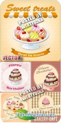 Тортики, кексы / Cakes, cupcakes - stock vector