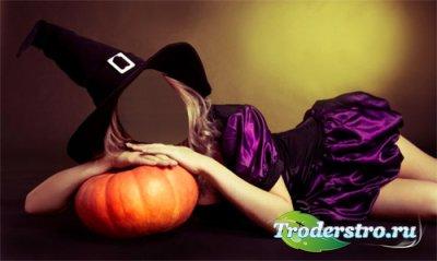 Шаблон для фотошопа - Девушка в костюме ведьмы лежит на тыкве