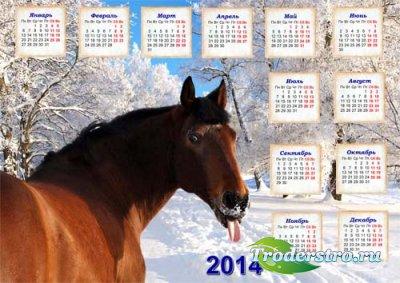 Календарь на 2014 год - Смешная лошадка