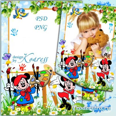 Детская фоторамка с Микки и Минни Маус - Нарисую твой портрет