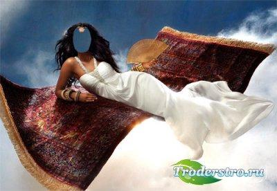 Женский шаблон - Брюнетка в белом платье на ковре самолете