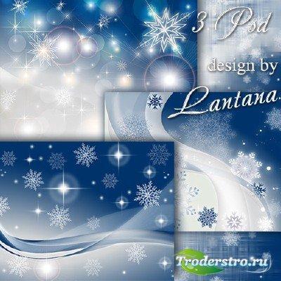 PSD исходники - Серебристые снежинки - новогодний снегопад