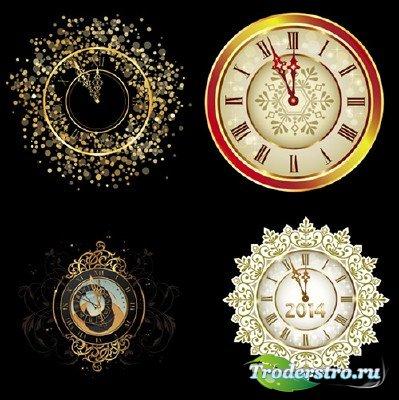 Клипарт - Новогодние узорные часы со стрелками к двенадцати на прозрачном ф ...