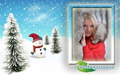 Рамка для фото - Веселый снеговик в елках