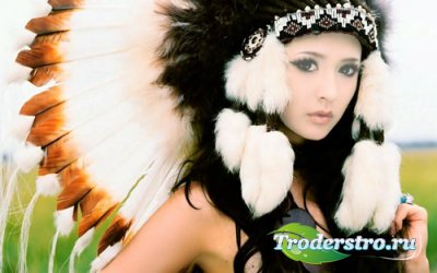 Шаблон женский - Хорошенькая девушка в костюме индейки